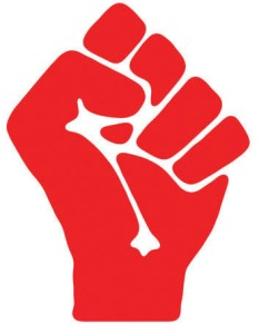 The SWP's red fist (lefthanded)