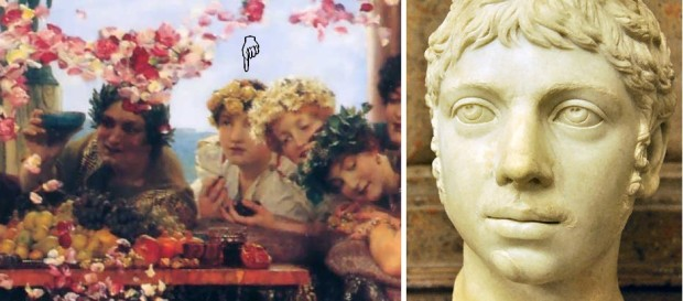 A comparison between Alma-Tadema's portrayal of Heliogabalus and a bust of Heliogabalus from the Musei Capitolini in Rome