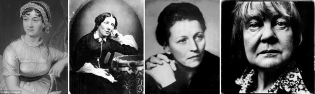 L-R: Jane Austen, Harriet Beecher Stowe, Pearl S. Buck, Iris Murdoch