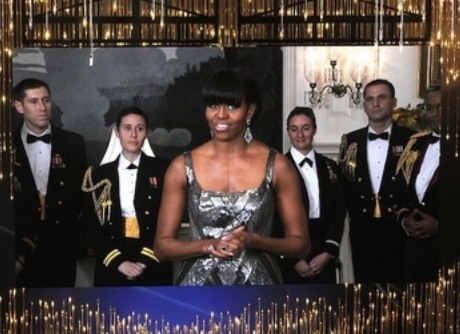 Michelle Obama presenting an Oscar at the White House