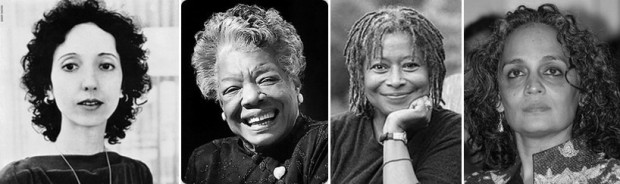 L-R: Joyce Carol Oates, Maya Angelou, Alice Walker, Arundhati Roy