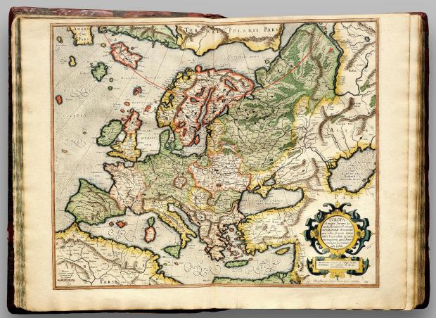 Map of Europe from Mercator's Atlas Cosmographicae (1596)