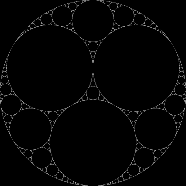 Apollonian gasket (Wikipedia)