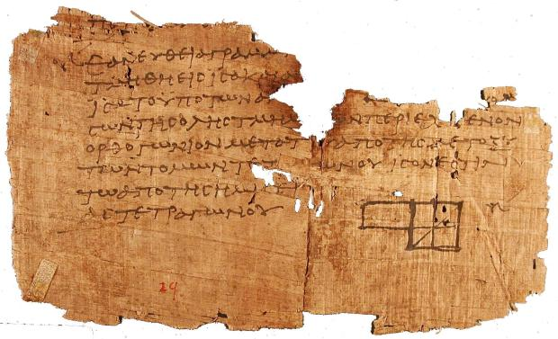 An ancient fragment of Euclid's Elements (Book II, 5) (c. 100 A.D.)