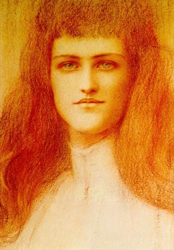 Head of a Young English Girl by Fernand Khnopff