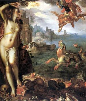 Perseus Releases Andromeda by Joachim Wtewael