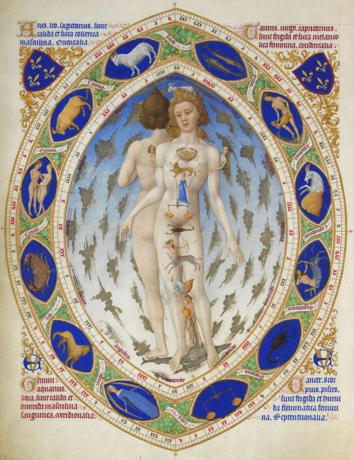 L'Homme anatomique ou L'Homme zodiacal, by the Limbourg Brothers from Très Riches Heures du Duc de Berry (c. 1414)